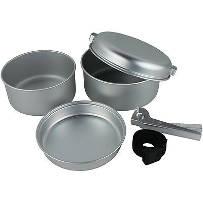 5 Pcs Portable Camping Cook Cooking Cookware Set Aluminium Pots Pans Yellowstone