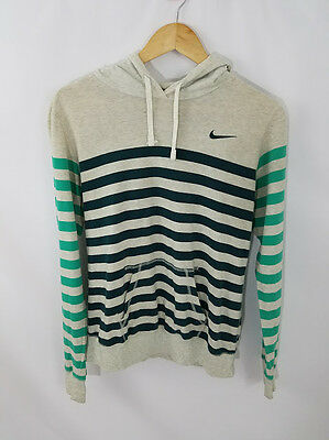 Nike hooded t-shirt Long sleeve Kids size Large Stripped Green & Gray