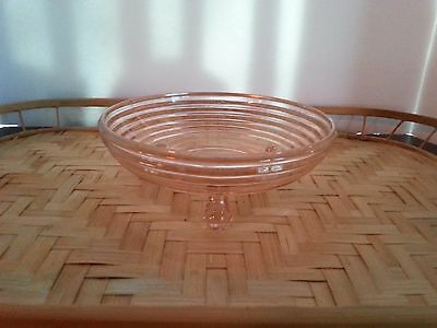 """Anchor Hocking Pink Depression Glass 3-footed Candy Dish Pink Manhattan 6 1/2"""""""
