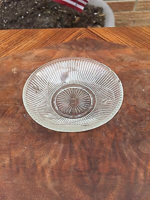 ANTIQUE EAPG CLEAR GLASS  BUTTER PAT small SHALLOW BOWL DIP PLATE 3.5""
