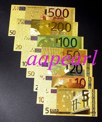 7pcs different Europe Crafts Banknotes Colorful golden plastic paper money