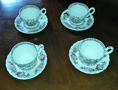 Vintage Myott Staffordshire Indian Tree Cups & Saucers - Set of Four