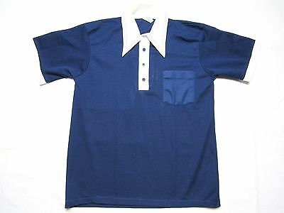 VINTAGE POLYESTER POCKET POLO shirt Kmart L butterfly collar funky trendy
