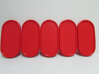 5 New Tupperware Modular Mates Oval Lid CHILI RED Replacement Seal Cover MM 1616