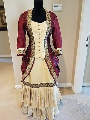 Victorian Bustle dress in wine and gold taffeta