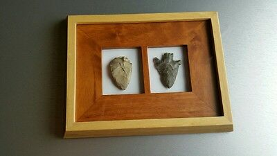 2 Large stone prehistoric ?Arrow/Spearheads in 3D wooden frame by Natural World