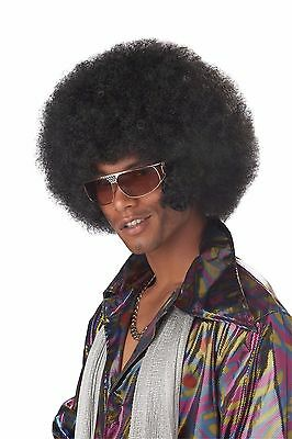 Adult 70s Black Disco Fro Afro Chops Costume Wig