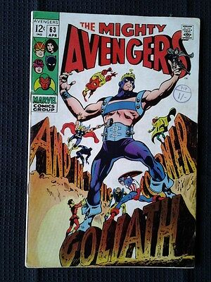 Avengers V1 #63 (1969) Silver Age Marvel Comics - First Hawkeye becomes Goliath