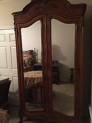 Antique Louis XV Walnut Armoire with Double beveled Mirror Doors