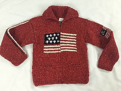 Otavalo-Ecuador Handcrafts 100% Wool Child's Sweater Patriotic American Flag