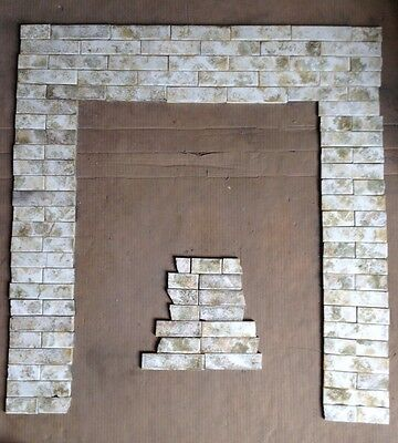 Complete Set Vintage Victorian Antique Fireplace Tile Mantle Hearth Bronze Tan