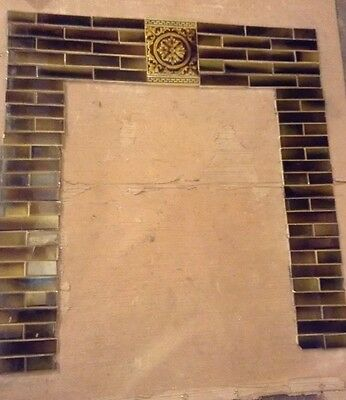 COMPLETE SET VINTAGE VICTORIAN ANTIQUE FIREPLACE ART TILE  MANTLE Tiles Trent