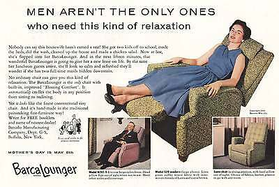 1955 BarcaLounger: Men Aren't the  Only Ones (8356) Print Ad