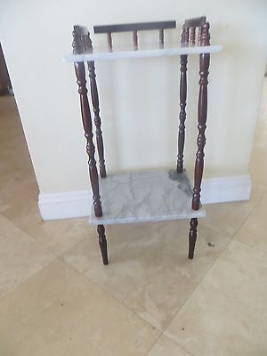 Antique Vintage 2 Tier White Marble Top Nightstand or Side or End Table SO NICE!
