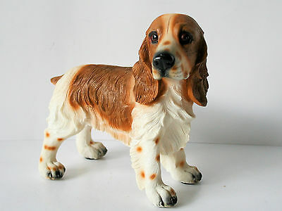 """DOG SPANIEL Figurine 7 1/2"""" Long  Brown and White NEW IN BOX"""