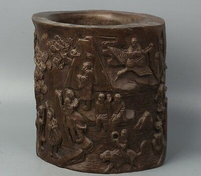 Chinese Exquisite Hand-carved Eighteen Lohan carving Agarwood Pen holder