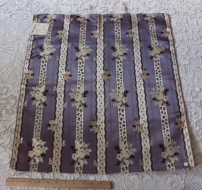 Antique French Original Silk Home Dec Brocade Lampas Fabric Textile c1860-1870
