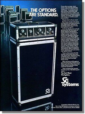 1975 SG Systems electric guitar amplifiers photo-ad