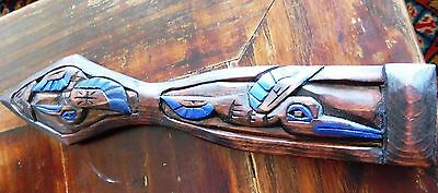Northwest Coast First Nations Art carving: wooden Hummingbird paddle, Miniature