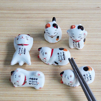 Cute Ceramic Fortune Cat Chopsticks Rest Rack Dining-table Cutlery Holder Rester