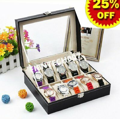 Professional 6/10 Slots Wrist Watch Display Box Storage Holder Organizer LOT YL