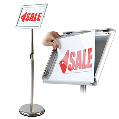 Pedestal Poster Stand T Sign 11 x 17 Inches In Silver Adjustable Aluminum Snap