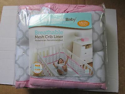 Breathable Baby Breathable Mesh Crib Liner Bumper Pink & White NEW OPEN PACKAGE
