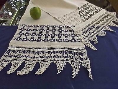 Antique Homespun Linen 16x61 Show Towel Bridal Buffet Scarf FAB Whitework Lace