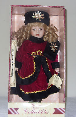 """16"""" Genuine Cuddle Collectibles Fine Bisque Porcelain Doll New In Box"""