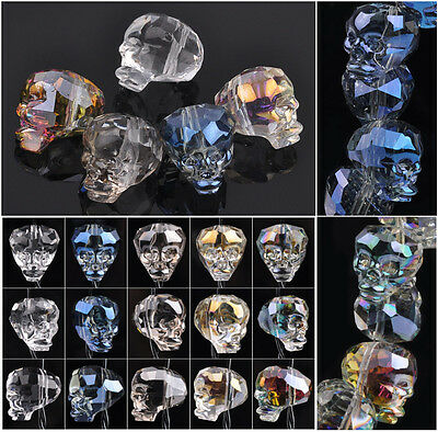 14X13mm Skull Head Faceted Crystal Glass Loose Spacer Beads Lot Jewelry Making