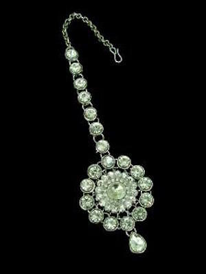 Indian Maang Tikka White Stone Bollywood Jewellery Bridal Hair Accessory