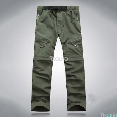 Mens Quick Dry Pants Hiking Cargo Convertible Survival quick dry US