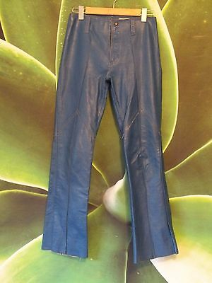* Authentic Vintage Ladies Blue Leather Pants By Ratso. Size 10