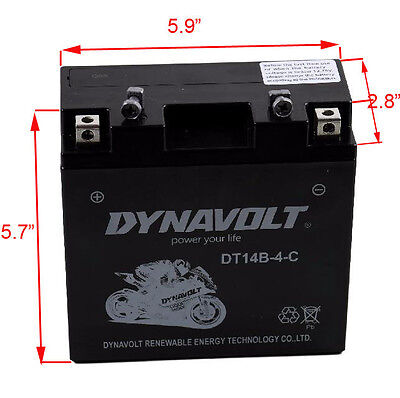 YT14B-BS High Performance Sealed AGM Motorcycle Battery Replaces DT14B-4 YT14B-4