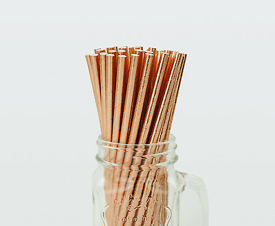 25 x Solid Rose Gold Foil Paper Straws Drink Wedding Party Event Drinking Drinks