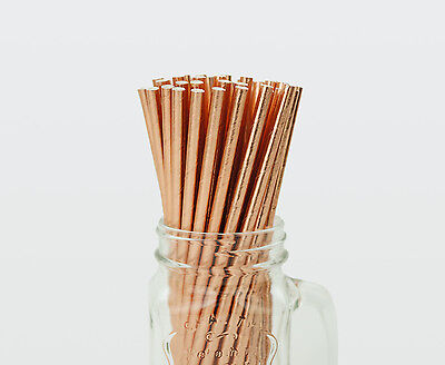 50 x Solid Rose Gold Foil Paper Straws Drink Wedding Party Event Drinking Drinks