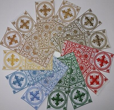 "Orphreys Cross Design 3"" Embroidered Banding Assorted Colors Sold by Yard"