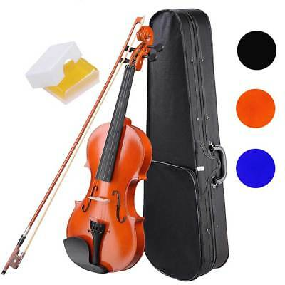 Full Size 4/4 Violin Fiddle Acoustic Wooden for Beginners Case Bow Rosin Strings