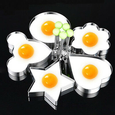 Stainless Steel Omelette Egg Frying Mold Ring Pancake Fried Mould DIY W/ Handle