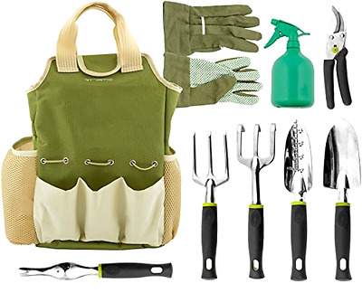 Garden Tool Set Vremi 9 Pieces with Garden Gloves and Tote Multiple Lightweight