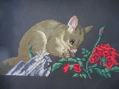 Craft Cross Stitch Cheeky Possum Eating Prize Winning Roses