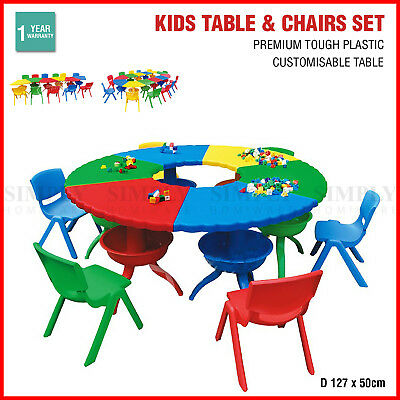 Kids Table and Chair Set Children Activity Toddler Large Plastic 6 Chairs 127x50