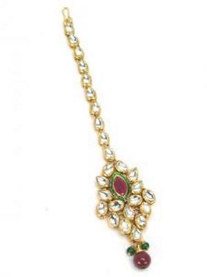 Indian Kundan Maang Tikka Bollywood Jewellery Bridal Hair Forehead Accessory