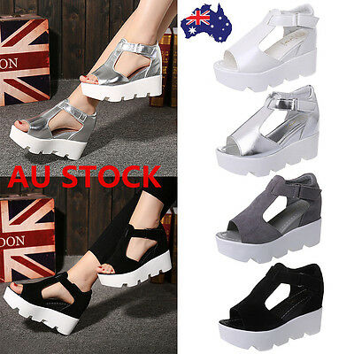 Women High Block Heel Sandals Pumps Open Toe Platform Shoes Party Chunky Slipper