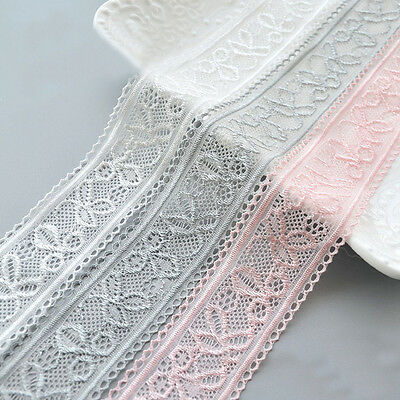 Stretch Elastic Lace Edge Trim Embroidery Flower Ribbon Hairband Sewing