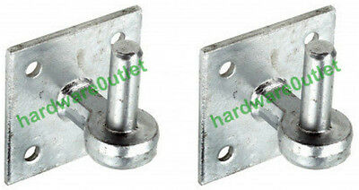 "2 x Hooks on 4"" Plate B4871 Galvanised 19mm Dia Pins - Hook & Band Gate Hinges"