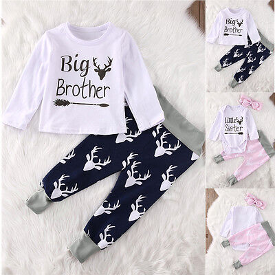 Cute Newborn Infant Baby Boy Girl Outfits Clothes Deer Romper Top+Pants 2PCS Set