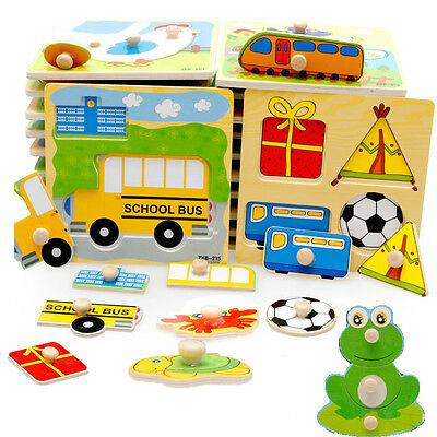 Baby Toddler Intelligence Development Animal Wooden Brick Puzzle Jigsaw Toy Gift