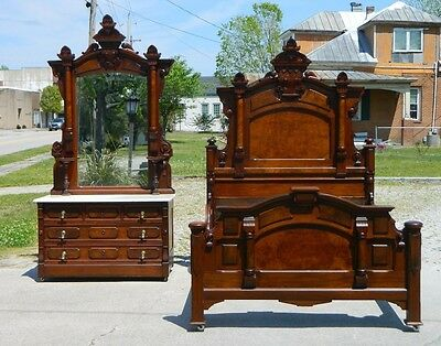 Walnut Victorian Bedroom Set~~Bed(Full Size)~~Dresser circa 1865