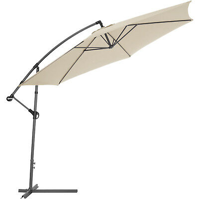 3.5m Metal Cantilever Garden Parasol beige + UV Protection + Stand + Cover